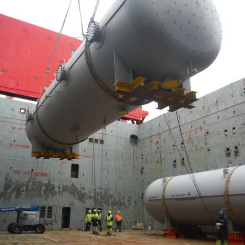Loading of tanks for a gas Project at Tarragona port.