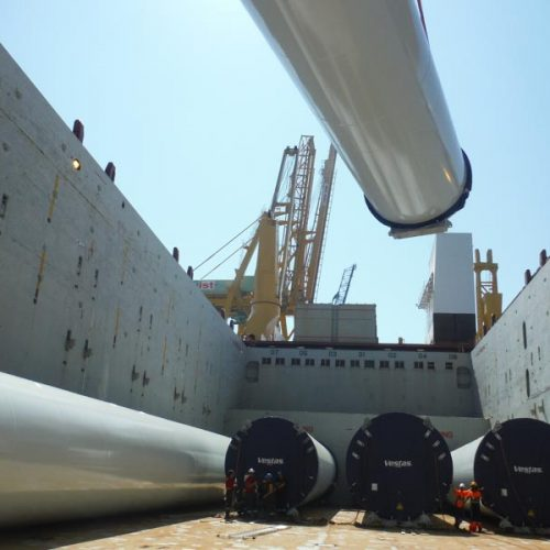 Loading tower sections by Vestas