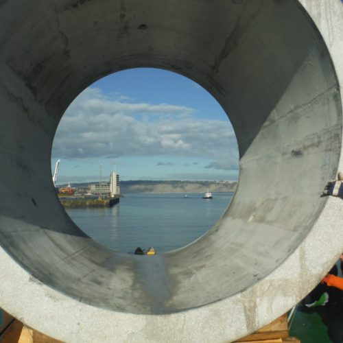 Loading concrete pipes at Bilbao port